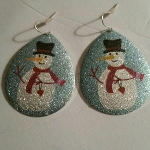 Hand painted Snowmen Pierced Earrings New